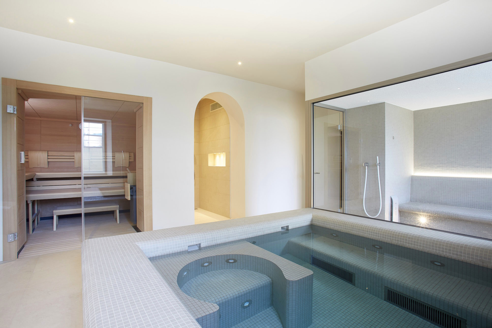 Relaxing pool and spa at Hill House